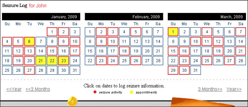Navigate through Seizure Tracker with this easy to use calendar interface.
